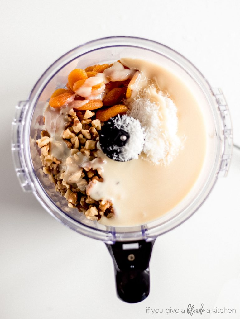 recipe step sweetened condensed milk, shredded coconut, dried apricots and walnuts in a food processor