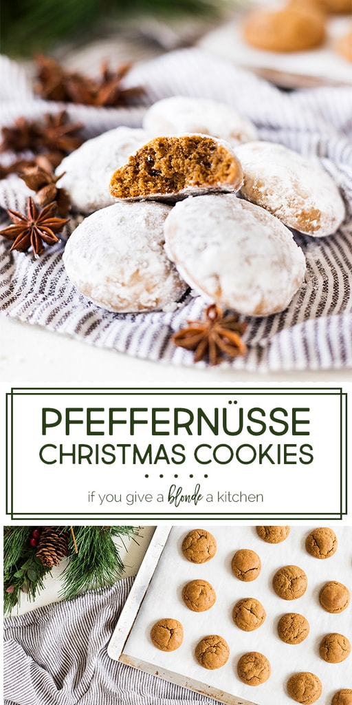 Pfeffernüsse cookies are a traditional Christmas cookie in Germany. Made with molasses, anise, pepper and other seasonal spices, these cookies are chewy and coated in confectioners' sugar. | www.ifyougiveablondeakitchen.com