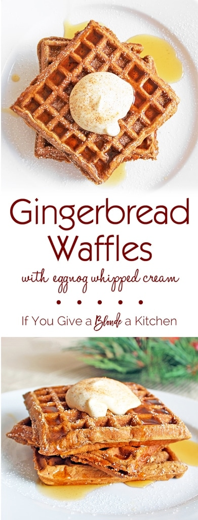 Made with plenty of flavor and topped with eggnog whipped cream, these gingerbread waffles are delicious down to the last bite. | @haleydwilliams