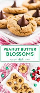 This peanut butter blossoms recipe makes the ultimate Christmas cookie. Each chewy peanut butter cookie is topped with a Hershey's Kiss. This recipe is a keeper! | www.ifyougiveablondeakitchen.com