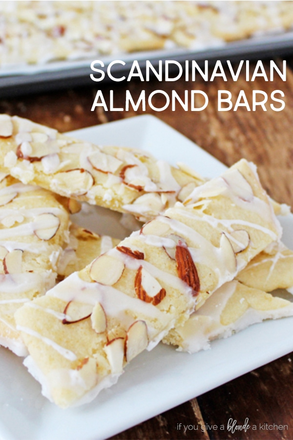Scandinavian almond bars are easy to make in large batches for the holidays. Make them as Christmas gifts and share with friends! | www.ifyougiveablondeakitchen.com