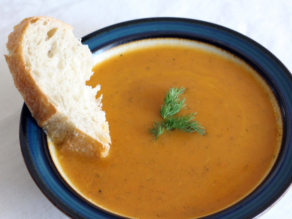 This healthy Carrot Dill Soup is a low calorie, flavorful, vegetarian recipe | If You Give a Blonde a Kitchen