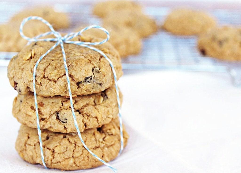 Chewy oatmeal raisin cookies stack | www.ifyougiveablondeakitchen.com