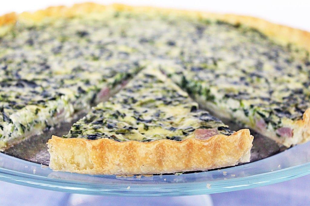 quiche spinach crust-slice