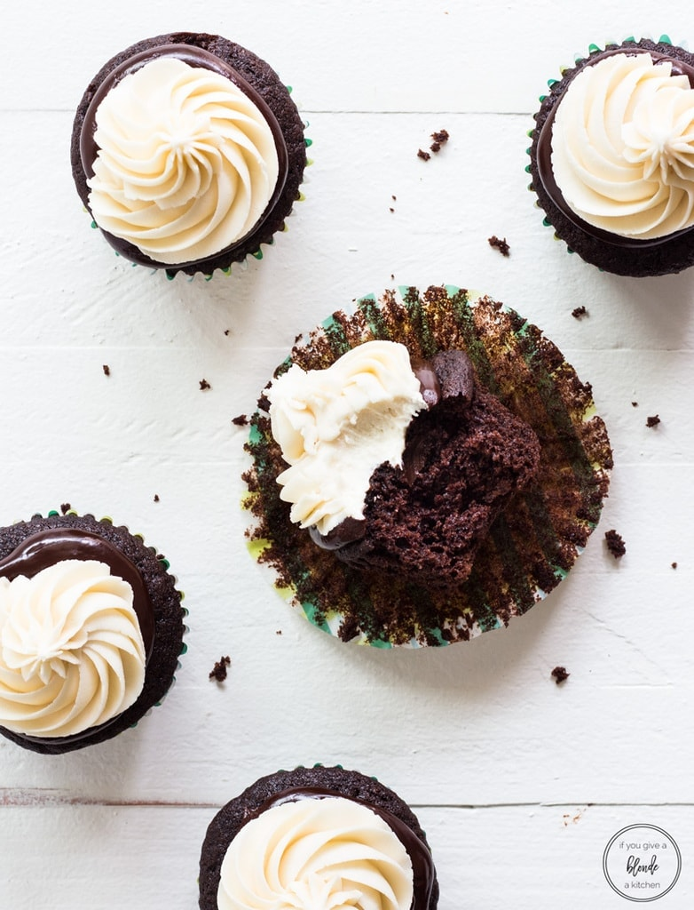 Irish car bomb cupcakes bite with crumbs and cupcake liner