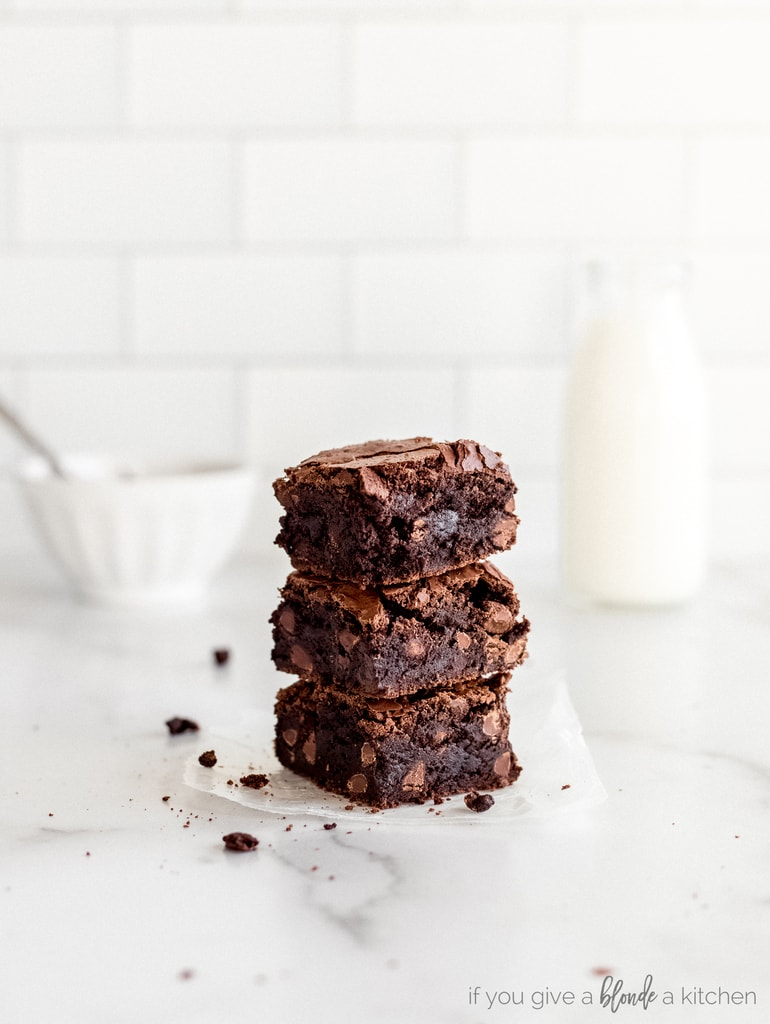 chocolate chip fudgy brownies stack of three