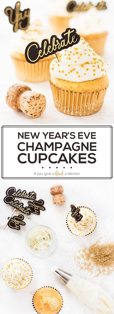 Champagne cupcakes recipe are the perfect dessert to make for a New Year's Eve party. Ring in the New Year with a boozy dessert and a glass of bubbly! | www.ifyougiveablondeakitchen.com