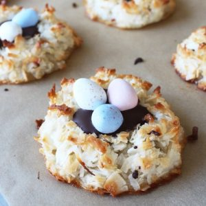 Easter egg coconut macaroons with pastel mini cadbury eggs and toasted coconut cookies