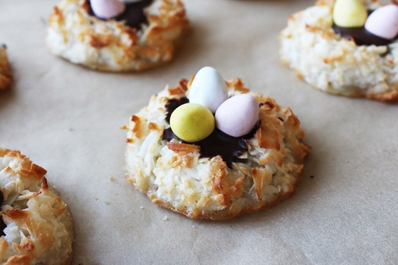 Easter egg coconut macaroons with cadbury mini eggs