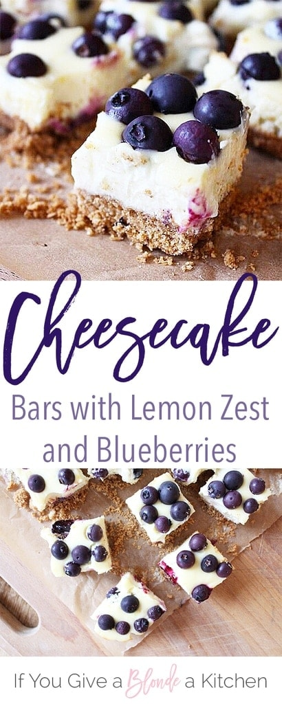 Lemon Blueberry Cheesecake Bars with a Graham Cracker Crust | Recipe by @haleydwilliams