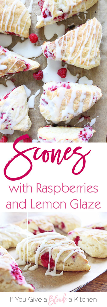 These homemade lemon raspberry scones are soft, scrumptious breakfast treats sweetened with fresh strawberries and lemon glaze.   Recipe by @haleydwilliams
