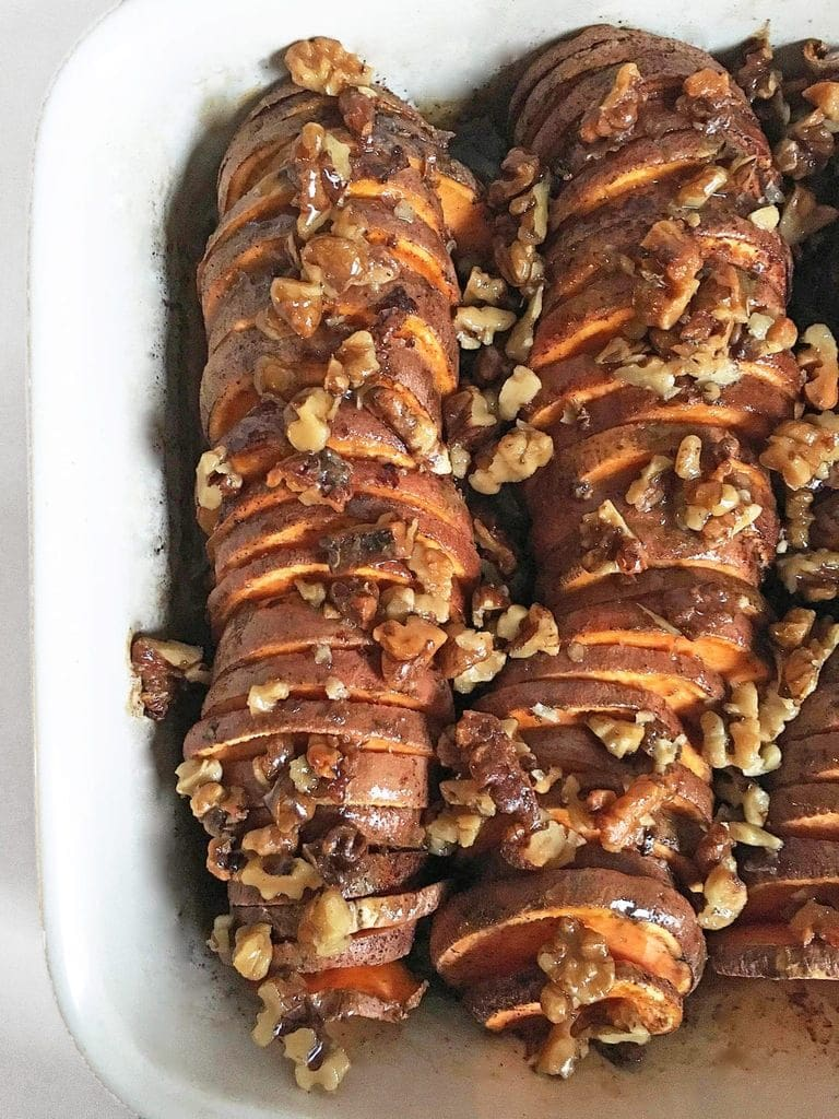 Bourbon maple sweet potatoes with a brown sugar walnut glaze recipe for Thanksgiving | If You Give a Blonde a Kitchen