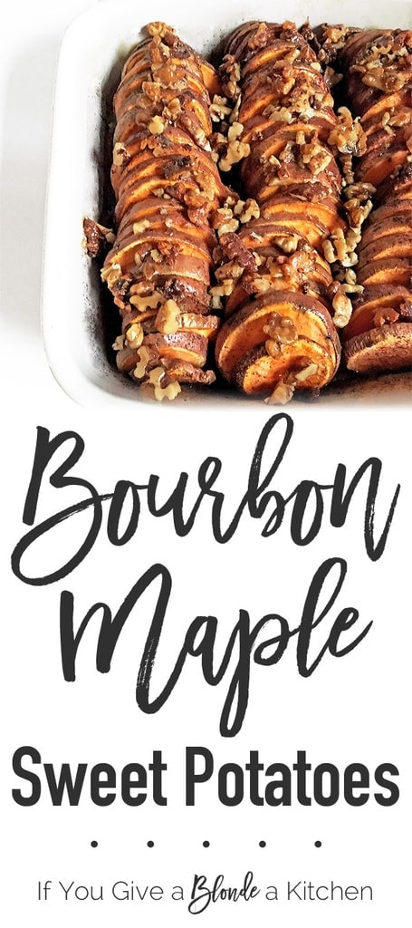 Add a kick to your Thanksgiving side dish with these Bourbon Maple Sweet Potatoes! | Recipe by @haleydwilliams
