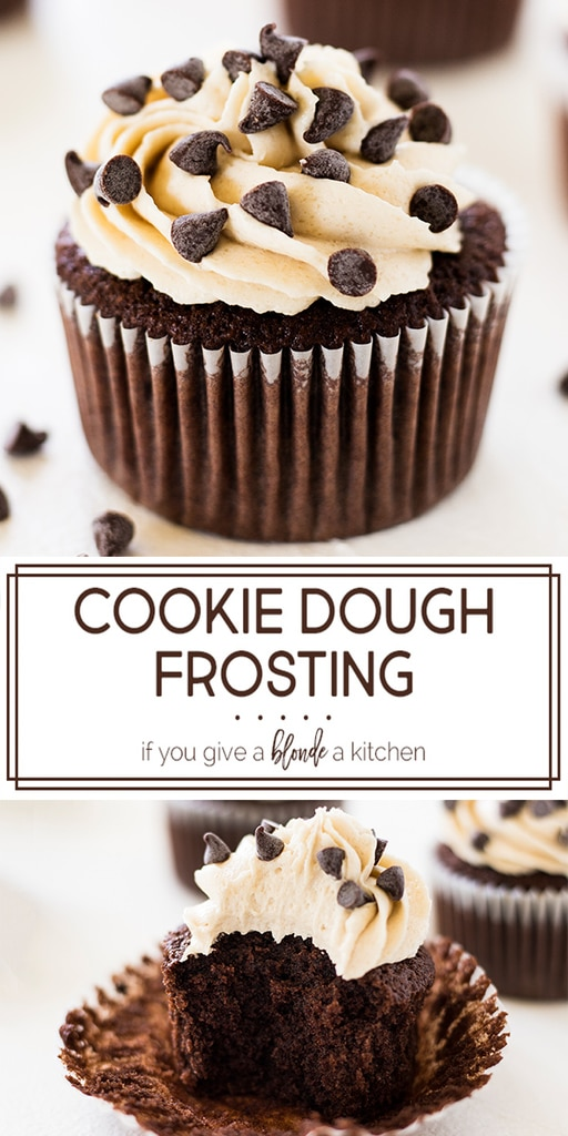chocolate chip cookie dough frosting tastes just like cookie dough! It pairs well with chocolate cupcakes and is garnished with mini chocolate chips. The brown sugar and butter make an easy and delicious frosting! | www.ifyougveablondeakitchen.com