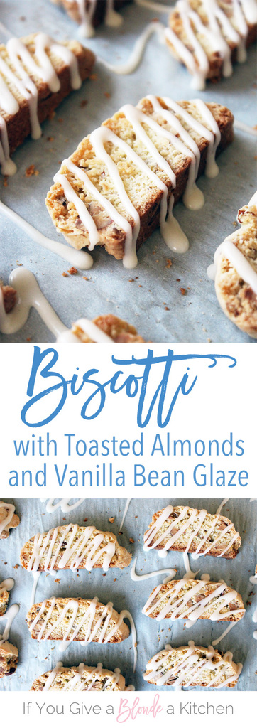 Toasted Almond Biscotti with a Vanilla Bean Glaze | Recipe by @haleydwilliams