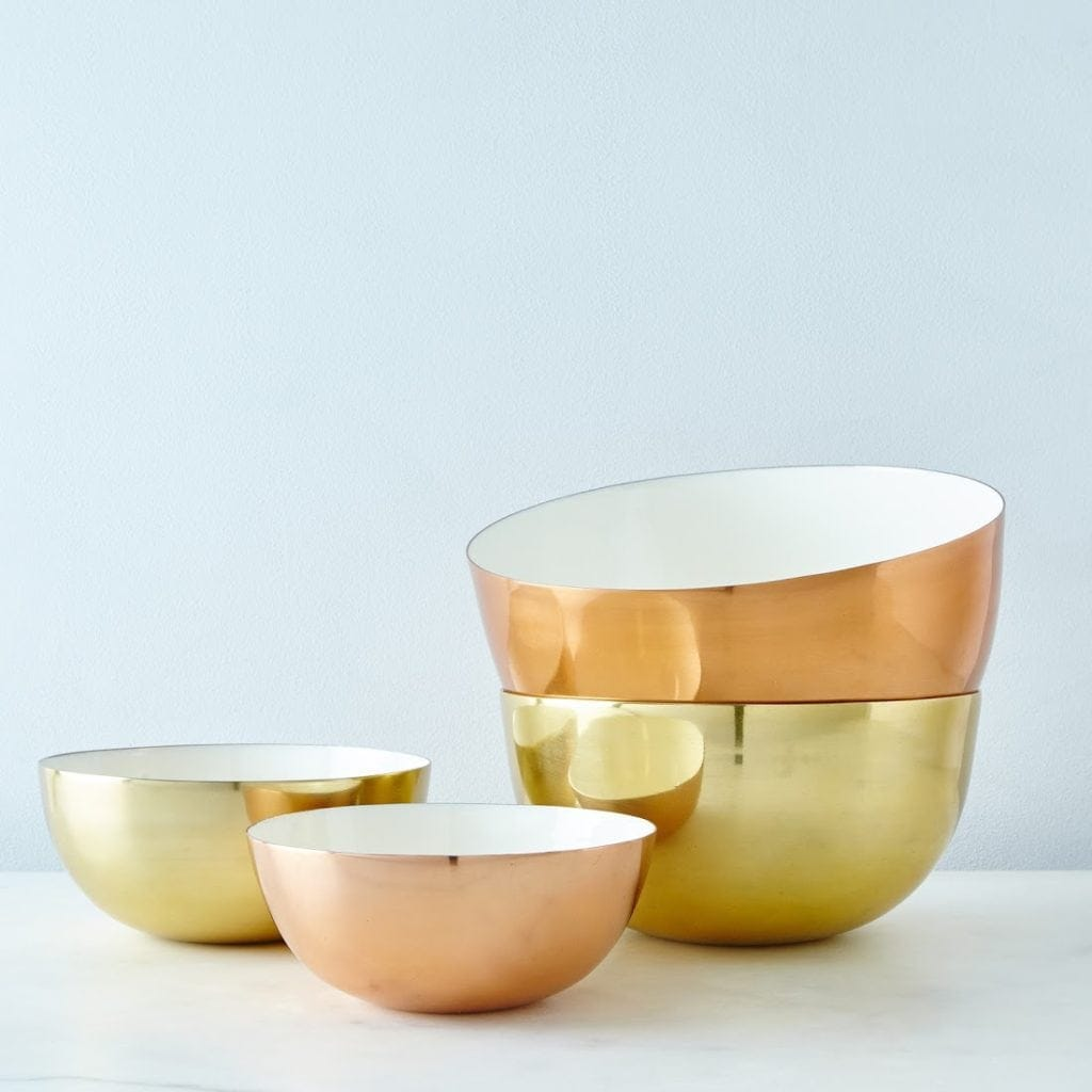 Seven kitchen gifts from Food52 including these copper brass enamel Louise bowls. | @haleydwilliams