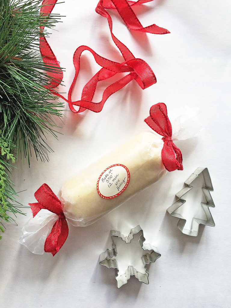 Great christmas gift idea! Wrap cookie dough in wax paper, tie with ribbon and add baking instructions. Perfect for sugar cookies and gingerbread cookies. | If You Give a Blonde a Kitchen