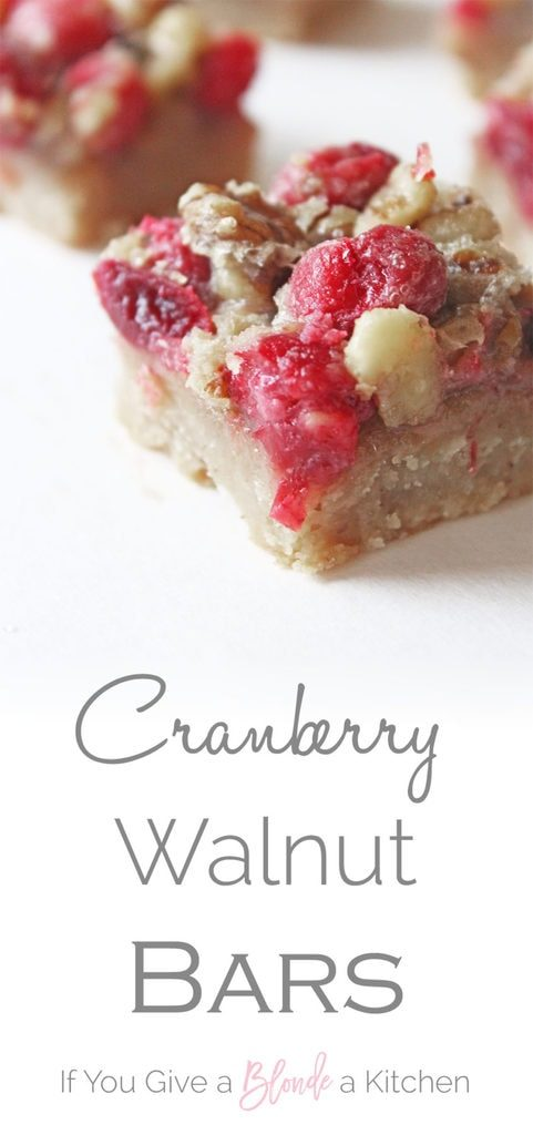 Cranberry Walnut Bars have tart cranberries, crunchy walnuts and a buttery brown sugar crust. | Recipe by @haleydwilliams