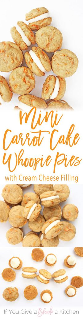 Mini Carrot Cake Whoopie Pies Recipe via If You Give a Blonde a Kitchen - bite-sized wonders. Sandwiched together with cream cheese frosting, this mini dessert is perfect for Easter. The BEST Bite Size Dessert Recipes - Mini, Individual, Yummy Treats, Perfectly Pretty for Your Baby and Bridal Showers, Birthday Party Dessert Tables and Holiday Celebrations! #bitesizedesserts #individualdesserts #minidesserts #tinyfood #partydesserts #dessertsforacrowd #dessertrecipes #holidayrecipes