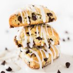two bite chocolate chip mini scones stack of three with glaze