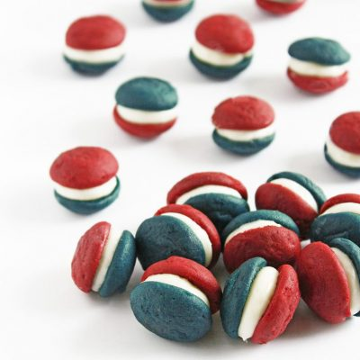 Red, White and Blue Velvet Mini Whoopie Pies