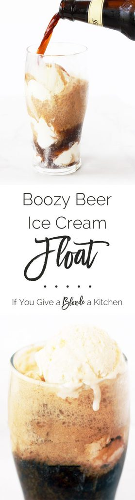 The adult version of a root beer float is a boozy beer float with chocolate stout and vanilla bean ice cream. | Recipe on www.ifyougiveablondeakitchen.com