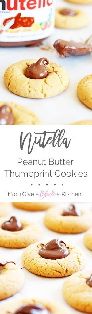 Nutella peanut butter thumbprint cookies are made using an easy peanut butter cookie recipe and topped with a dollop of Nutella. | www.ifyougiveablondeakitchen.com
