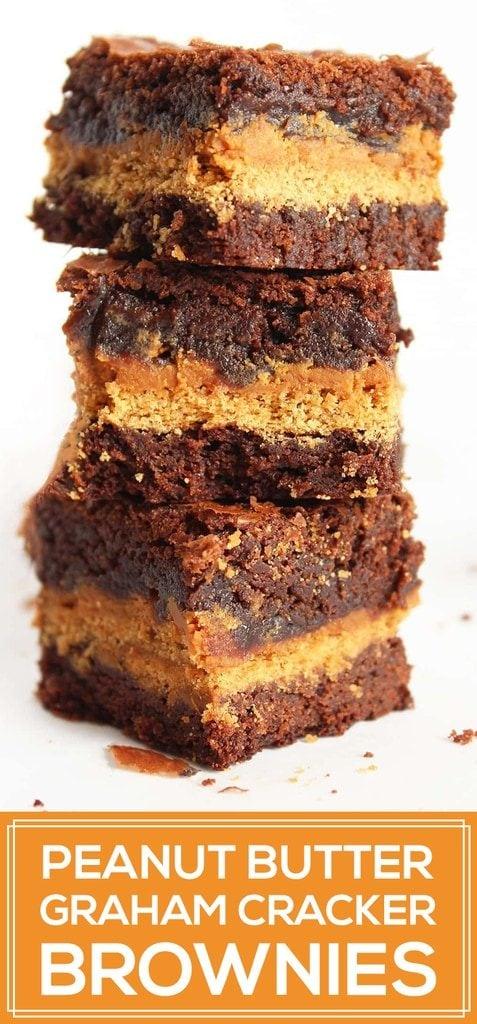 Peanut butter graham cracker brownies | www.ifyougiveablondeakitchen.com