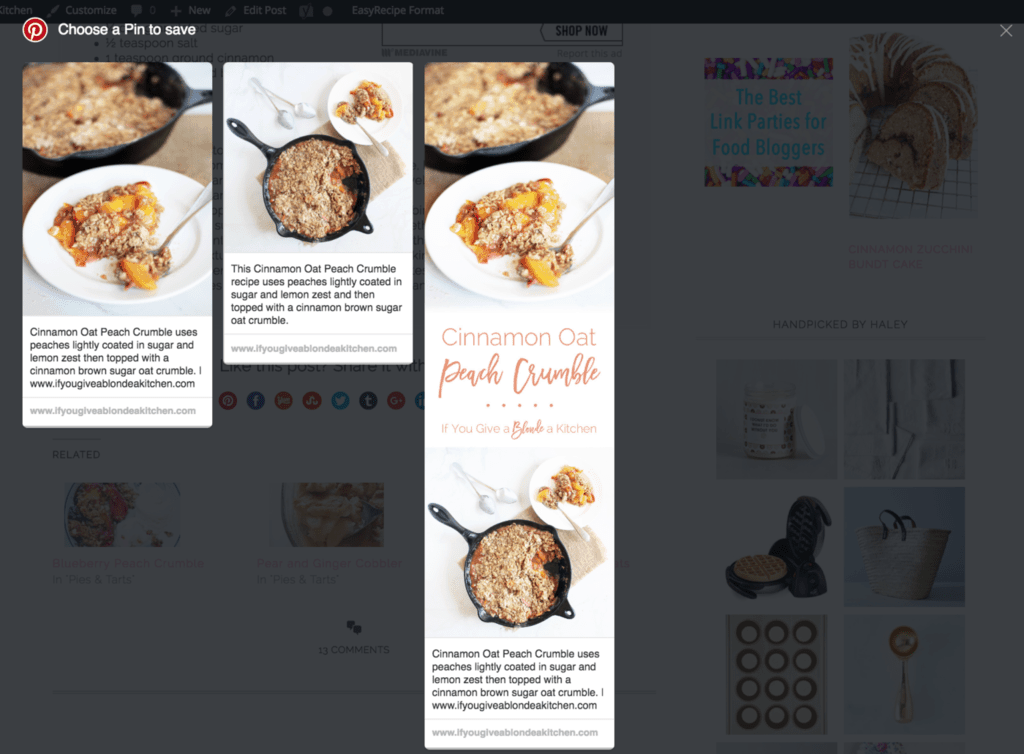 How to hide long Pinterest images in a blog post using WordPress. | www.ifyougiveablondeakitchen.com