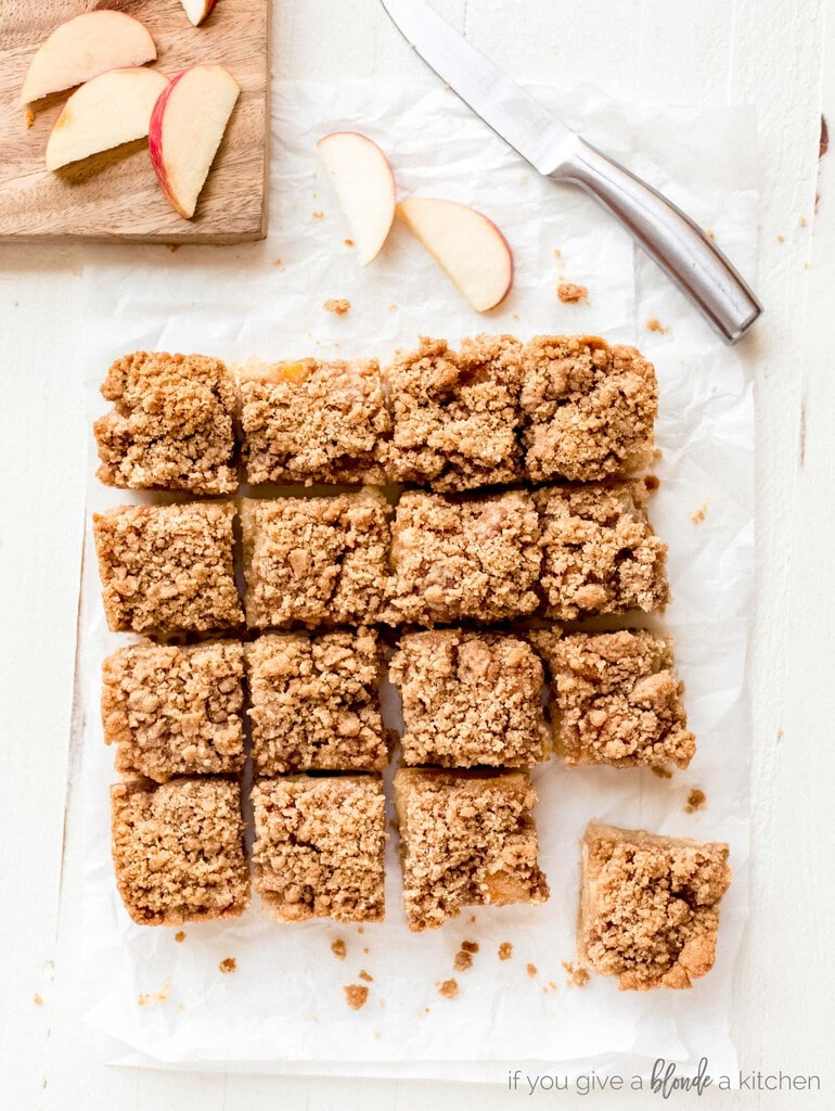 easy apple crisp bars with apple slices, knife, cutting board
