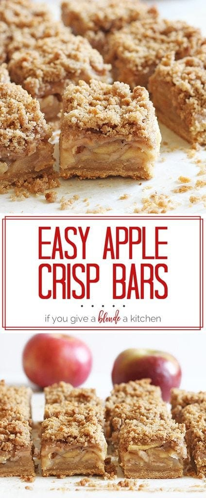 The apple crisp bars are so easy to make and the crumble is delicious! A must-try fall dessert recipe. | www.ifyougiveablondeakitchen.com