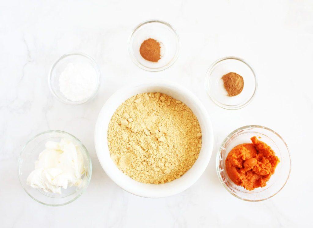 pumpkin truffles ingredients in bowls