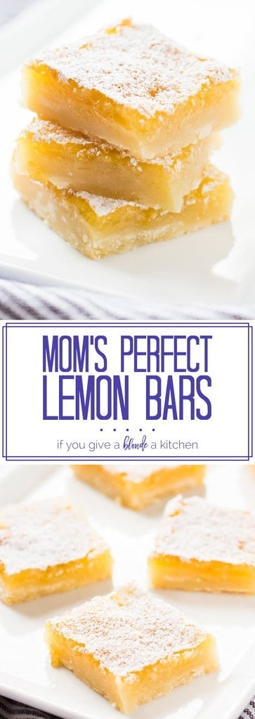 These perfect lemon bars are gooey, citrusy and absolutely delicious! | www.ifyougiveablondeakitchen.com