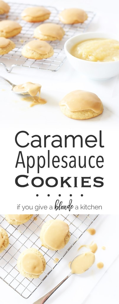 Fall spiced applesauce cookies cloaked in caramel frosting | www.ifyougiveablondeakitchen.com