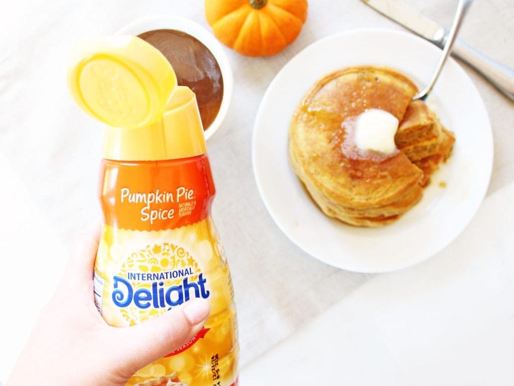 Fluffy pumpkin pancakes taste like clouds of pumpkin pie! | www.ifyougiveablondeakitchen.com