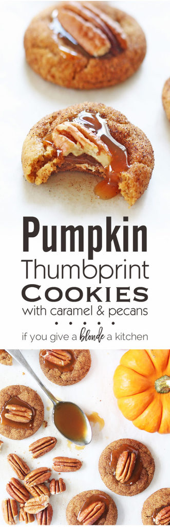 Pumpkin thumbprint cookies with gooey caramel and pecans has all the fall flavors. | www.ifyougiveablondeakitchen.com