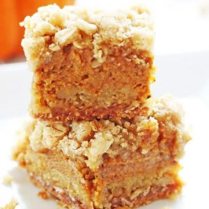Fall flavors are abundant in these easy pumpkin pie bars. The recipe uses cinnamon, nutmeg and more spices in the pumpkin filling and crumble topping. | www.ifyougiveablondeakitchen.com