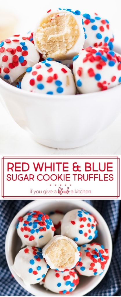Fourth of July Sugar Cookie Truffles are a patriotic no bake dessert for summer. Use sugar cookies and cream cheese to make the dough truffles, then dip in candy melts or white chocolate and add red white and blue sprinkles! Try the recipe for fourth of July or Memorial Day. | www.ifyougiveablondeakitchen.com