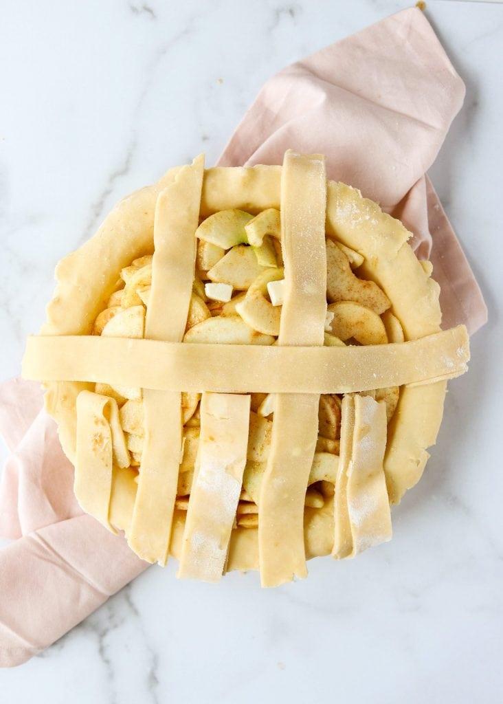 horizontal pie dough strip lattice pie