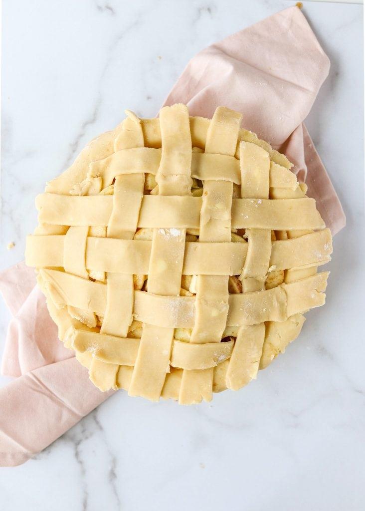 lattice pie strips edges hanging over