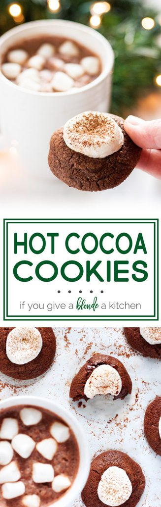 Hot cocoa cookies are made using a double chocolate chip cookie recipe. Perfect for Christmas! | www.ifyougiveablondeakitchen.com