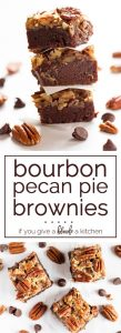 Bourbon pecan pie brownies are perfect for Thanksgiving and Christmas! | www.ifyougiveablondeakitchen.com
