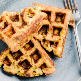 leftover stuffing waffles on blue plate