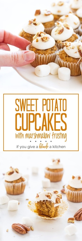 Perfect for Thanksgiving dessert! Sweet potato cupcakes with marshmallow frosting. | www.ifyougiveablondeakitchen.com