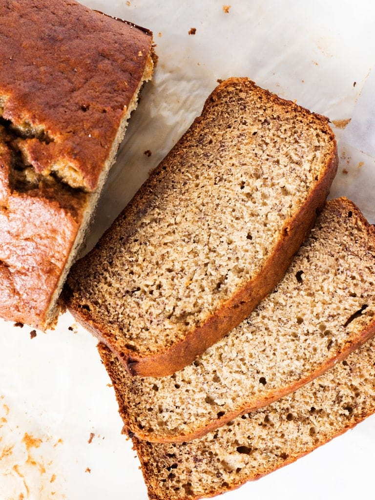Recipe for best banana bread ever! Moist, tender and full of banana flavor. | www.ifyougiveablondeakitchen.com