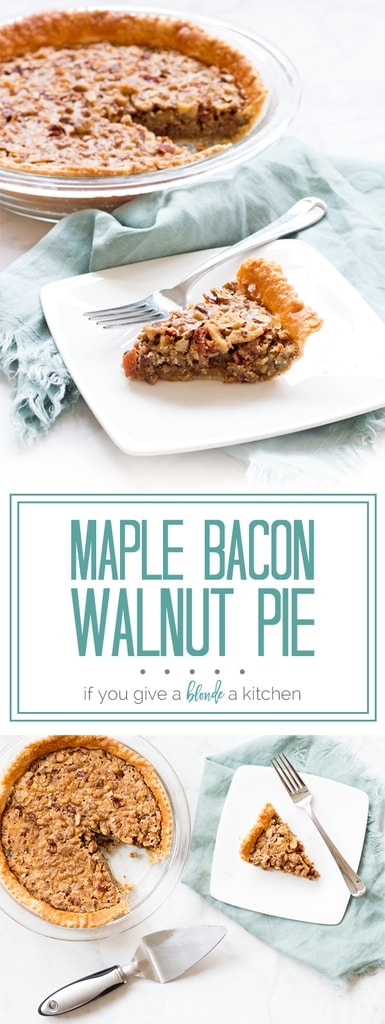 Maple bacon walnut pie is the perfect recipe for Christmas and Thanksgiving! | www.ifyougiveablondeakitchen.com