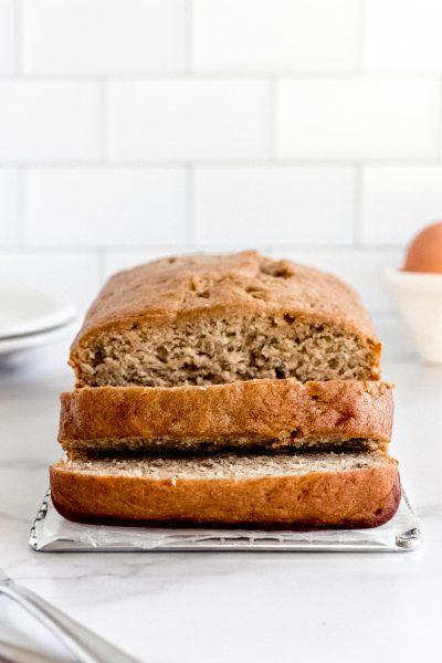 banana bread loaf sliced