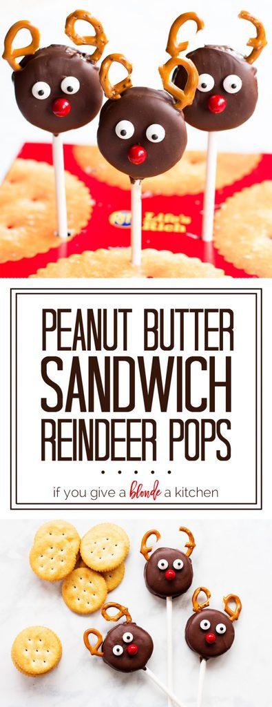 Peanut Butter Sandwich Reindeer Pops #HolidayRITZ #ad | www.ifyougiveablondeakitchen.com