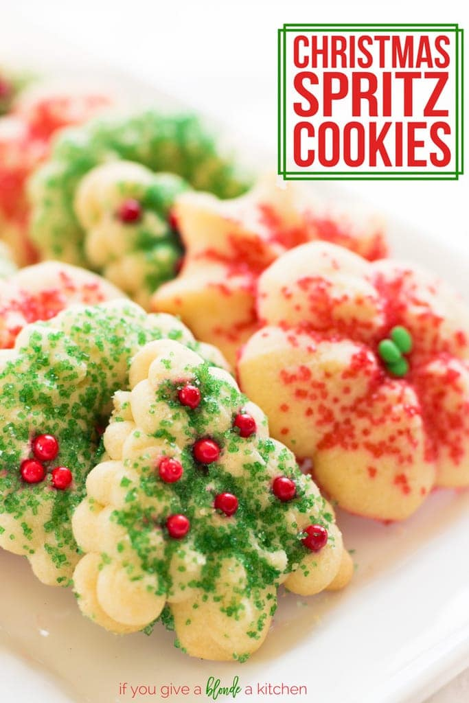 Tree-shaped butter spritz cookies are a yummy Christmas treat! Use a cookie press and make them for your holiday cookie swap.   www.ifyougiveablondeakitchen.com