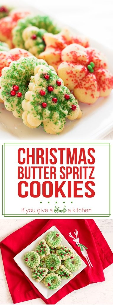 Butter spritz cookies are a staple at Christmas time! Use a cookie press and make them for your holiday cookie swap. | www.ifyougiveablondeakitchen.com